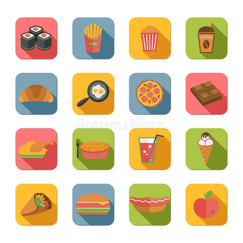 Snel Vlakke Voedselpictogrammen royalty-vrije illustratie