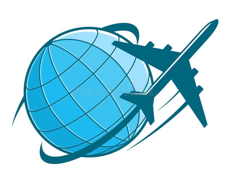 Snel vliegtuig die rond aarde vliegen royalty-vrije illustratie