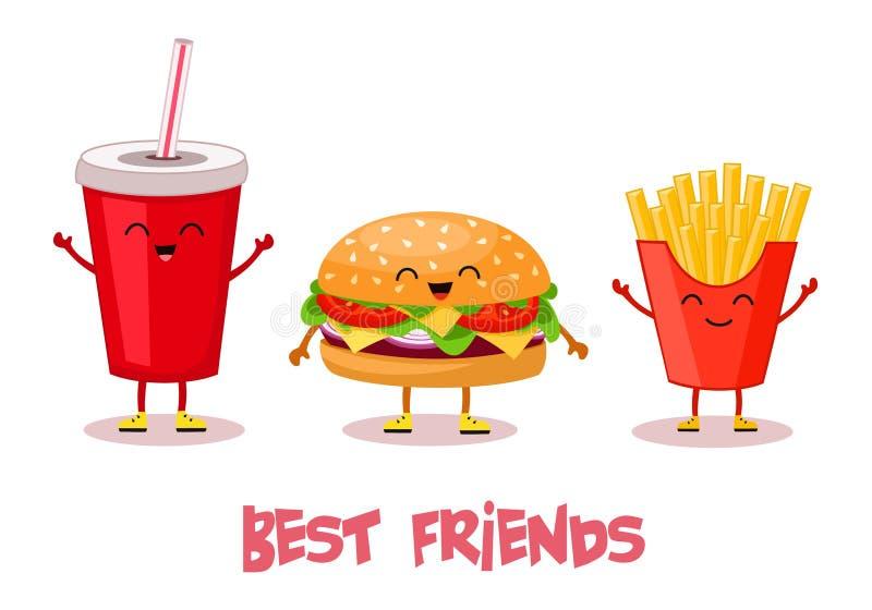 Snel voedsel Beste Vrienden Gestileerde karakters Vector illustratie royalty-vrije illustratie