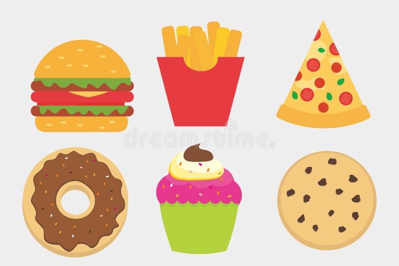 Snel Voedsel en Cake VectordieIllustratie op Wit wordt geïsoleerd vector illustratie