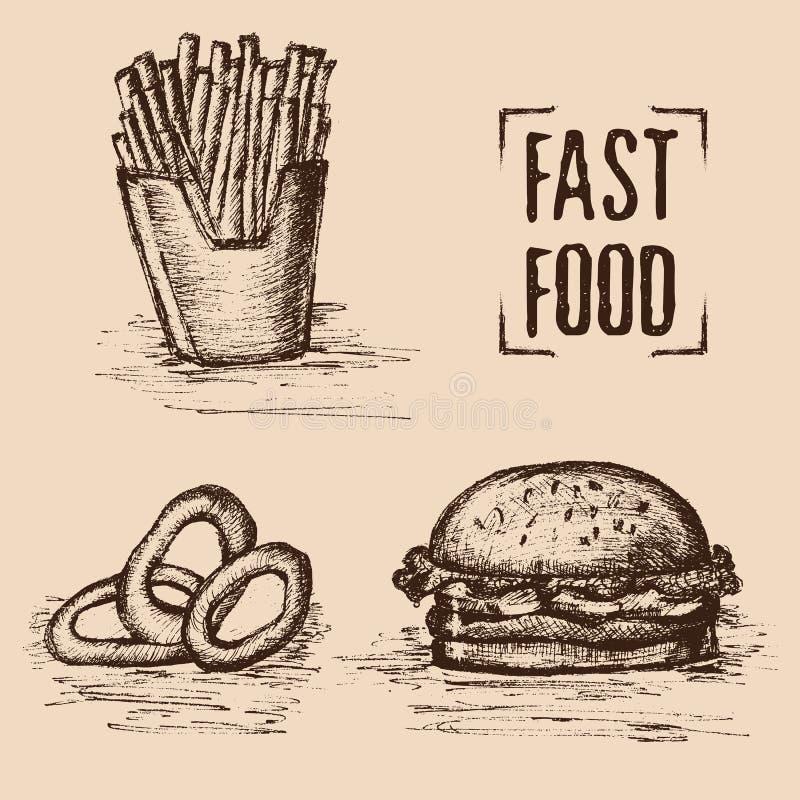 Snel voedsel Hand getrokken stijl Reeks van ongezond voedsel Gebraden met hamburger en uiringen Vector illustratie stock illustratie
