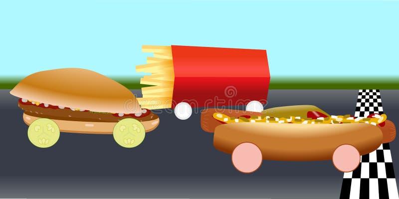 Snel voedsel in het rennen kringen vector illustratie
