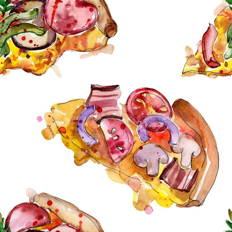 Snel voedsel itallian pizza in een waterverfstijl geïsoleerde reeks Watercolour naadloos patroon als achtergrond royalty-vrije stock foto's