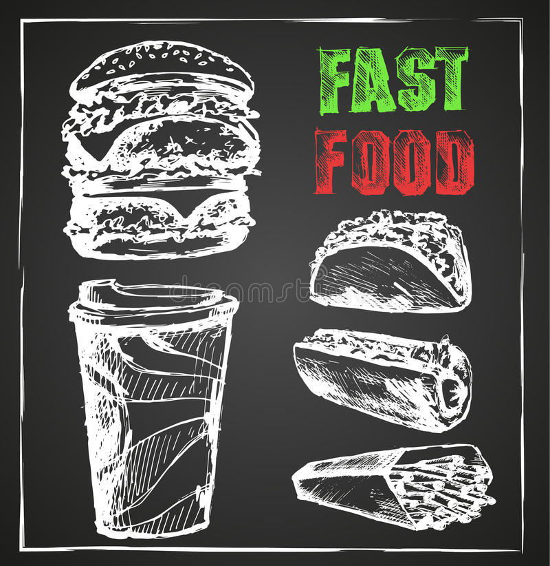 Snel voedsel, menu, hand getrokken Schoolbord royalty-vrije illustratie
