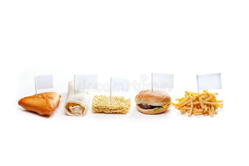 Snel voedsel van verschillende geïsoleerde landen stock foto