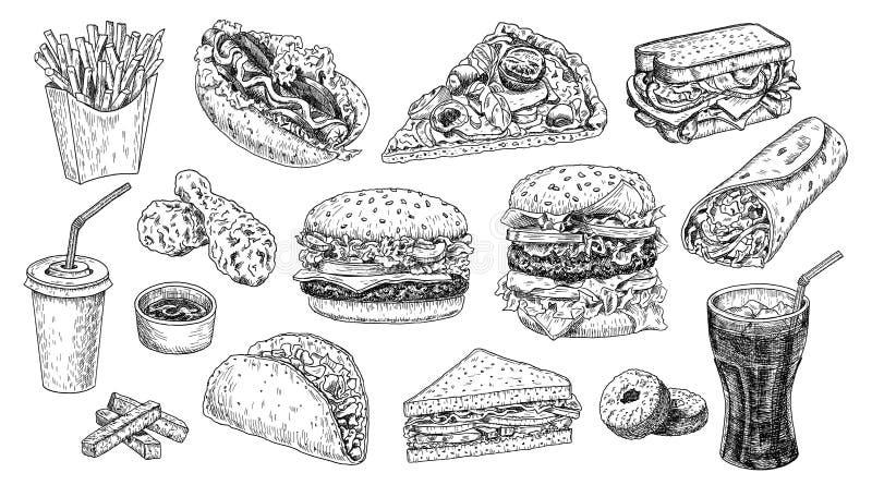 Snel voedsel vastgestelde hand getrokken vectorillustratie Hamburger, cheeseburger, sandwich, pizza, kip, kola, hotdog stock illustratie