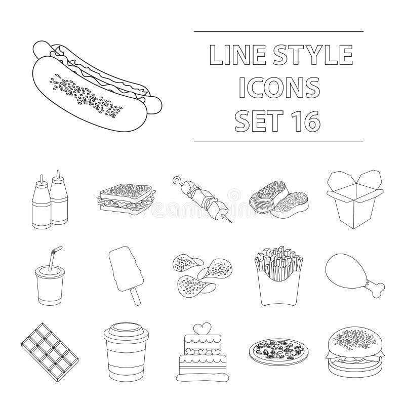 Snel voedsel vastgestelde pictogrammen in overzichtsstijl Grote inzameling van de voorraadillustratie van het snel voedsel vector stock illustratie