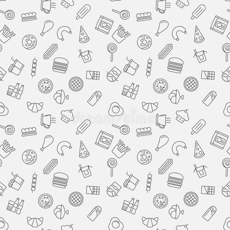 Snel voedsel vector naadloos patroon in dunne lijnstijl stock illustratie