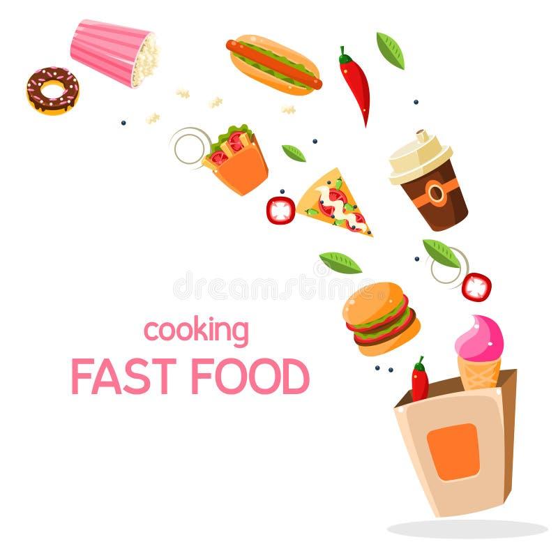Snel voedsel Vectorillustratie royalty-vrije illustratie