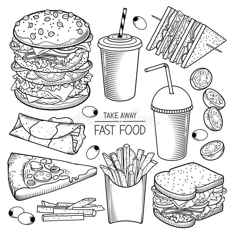 Snel voedsel vectorillustraties royalty-vrije illustratie