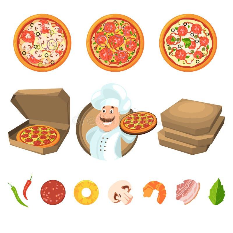 Snel voedsel voor partij of Italiaanse lunch Pizza met kaas en groenten Vectorillustratie in beeldverhaalstijl stock illustratie