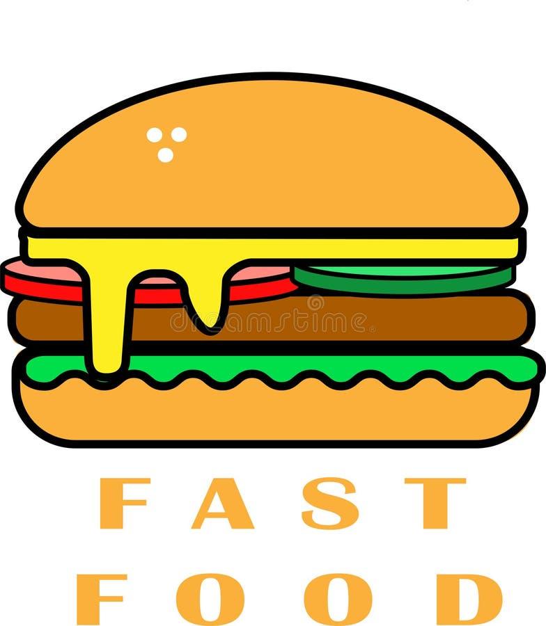 Snel voedsel - zo delecious Yumburger vector illustratie
