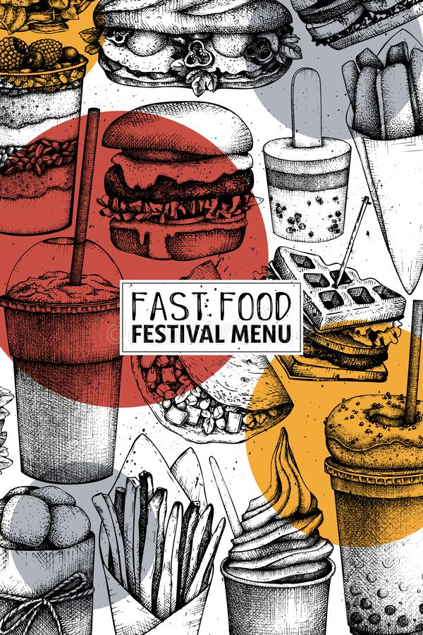 Snel voedselart. Gegraveerd stijlontwerp met vectortekening voor embleem, pictogram, etiket, verpakking, affiche Het festivalmenu royalty-vrije illustratie