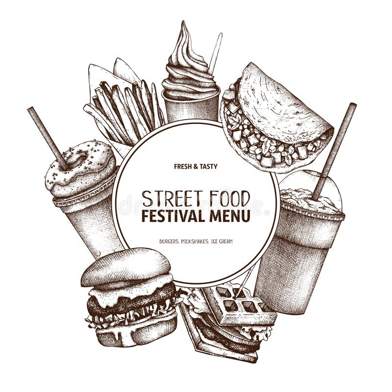 Snel voedselart. Gegraveerd stijlontwerp met vectortekening voor embleem, pictogram, etiket, verpakking, affiche Het festivalmenu vector illustratie