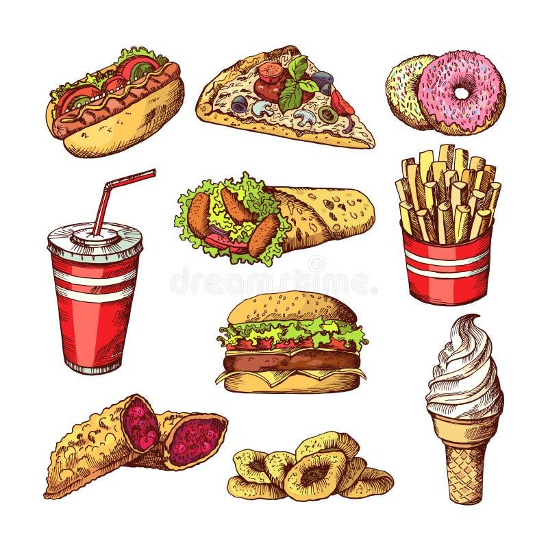 Snel voedselbeelden Burgers, de hotdog van de kolasandwich en frieten Hand getrokken kleuren vectorillustraties stock illustratie