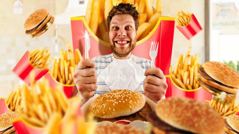 Snel voedselconcept, mens en burgers met gebraden gerechten royalty-vrije stock afbeeldingen