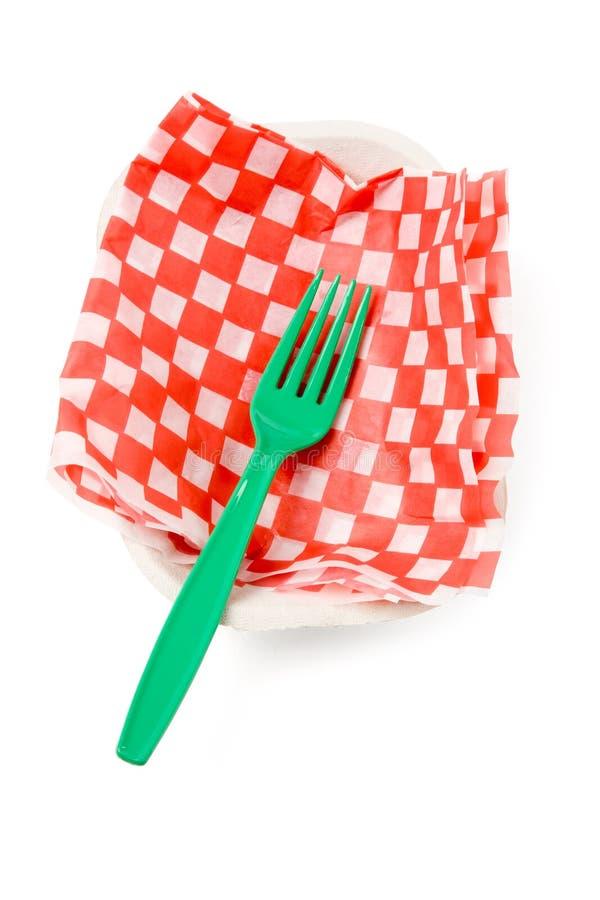 Snel voedseldocument dienblad en vork royalty-vrije stock foto's