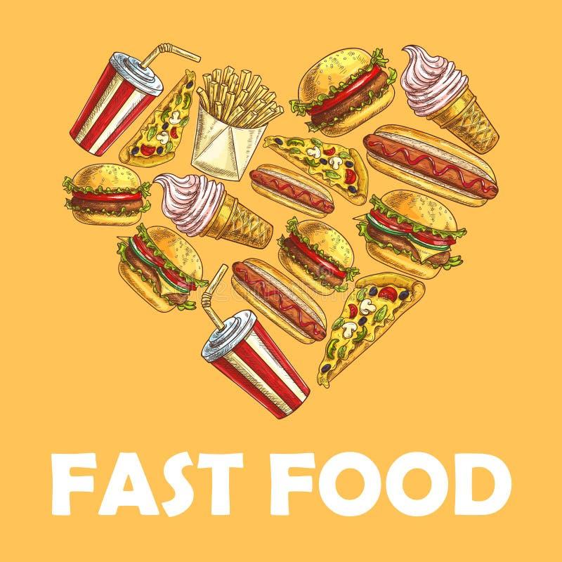 Snel voedselmaaltijd in hartvorm vector illustratie
