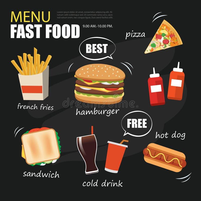 Snel voedselmenu op bord vlak ontwerp als achtergrond stock illustratie