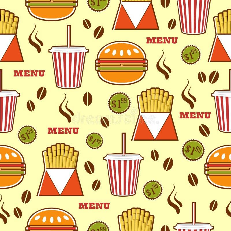 Snel voedselpatroon met dranken, burgers en gebraden gerechten vector illustratie