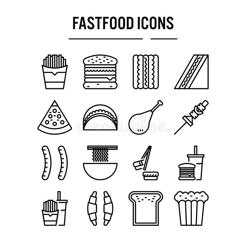 Snel voedselpictogram in overzichtsontwerp voor infographic Webontwerp, presentatie, mobiele toepassing - Vectorillustratie royalty-vrije illustratie