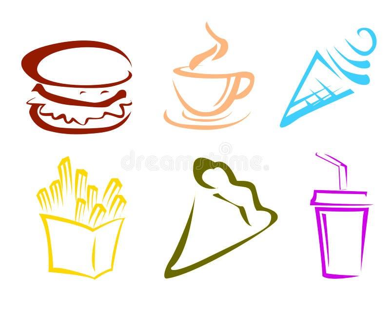 Snel Voedselpictogrammen stock illustratie