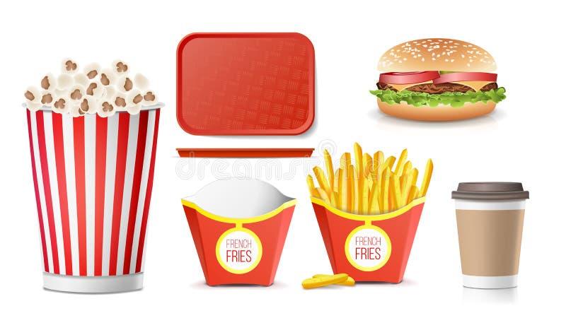 Snel Voedselpictogrammen Geplaatst Vector Frieten, Koffie, Hamburger, Kola, Tray Salver, Popcorn Geïsoleerdj op witte achtergrond royalty-vrije illustratie