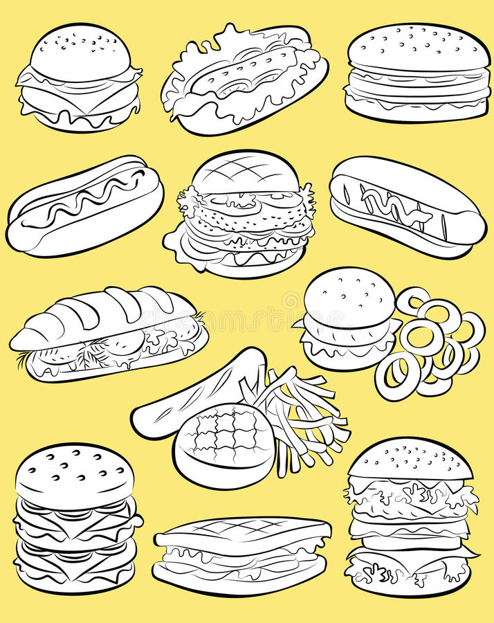 Snel voedselreeks royalty-vrije illustratie