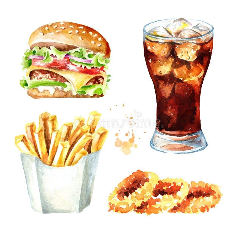 Snel voedselreeks Hamburger, glas kola, uiringen, de aardappel van de Frietstok ge?soleerde waterverfhand getrokken illustratie, stock illustratie