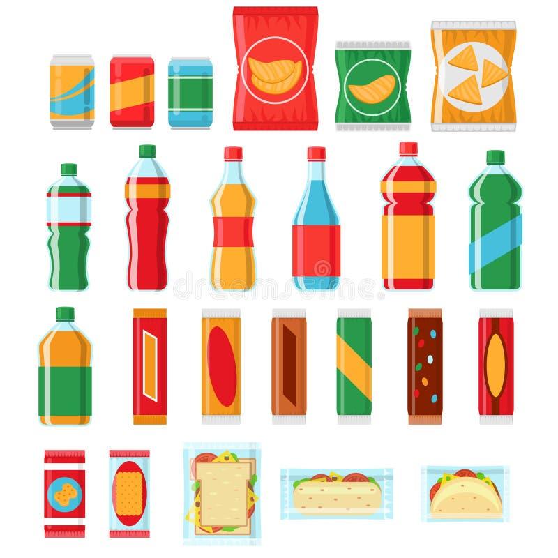Snel voedselsnacks en dranken vlakke vectorpictogrammen Automaatproducten stock illustratie