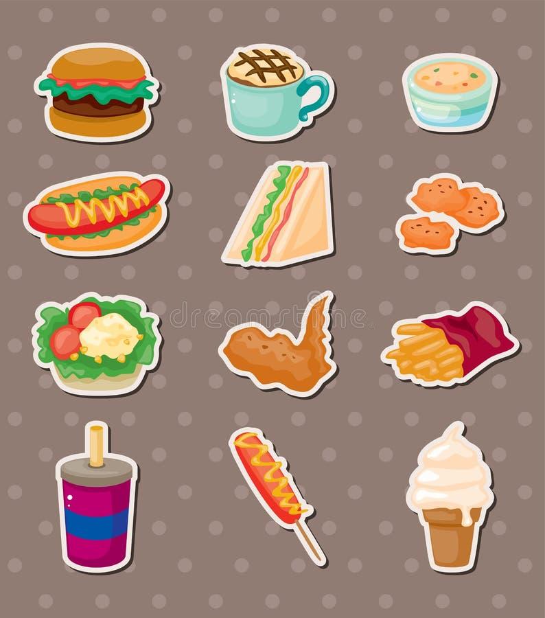 Snel voedselstickers stock illustratie