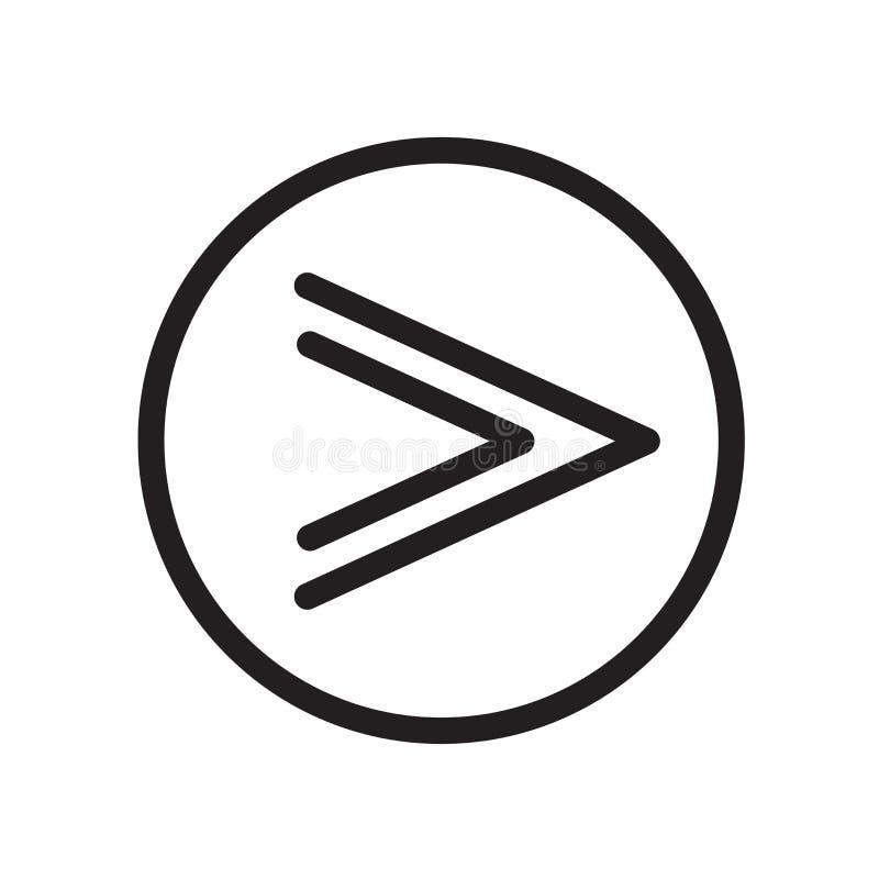 Snel voorwaarts die pictogram op witte achtergrond wordt geïsoleerd stock illustratie