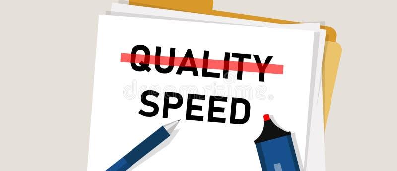 Snelheid en kwaliteit uitgezocht tussen kostenefficiency in projectbeheersplan royalty-vrije illustratie