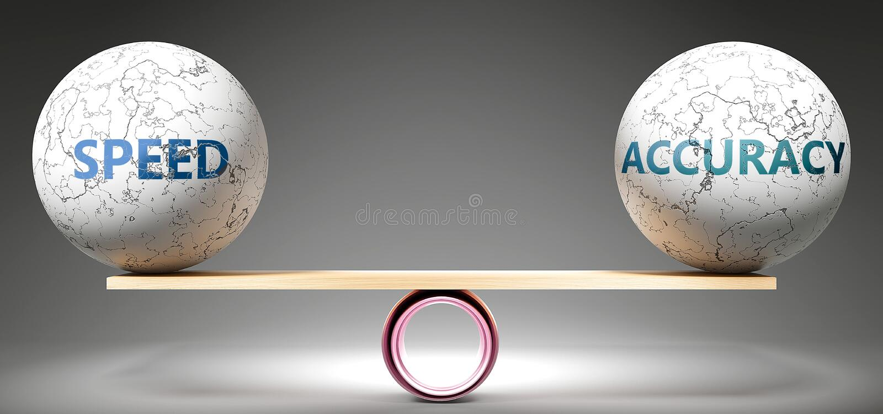 Snelheid en nauwkeurigheid in balans - afgebeeld als gebalanceerde ballen op schaal die harmonie en rechtvaardigheid tussen snelh royalty-vrije illustratie