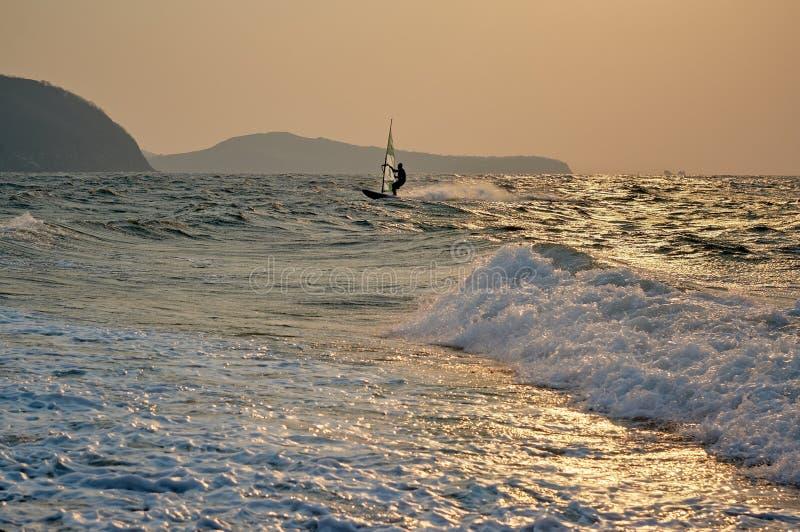 Snelheid windsurfer bij zonsondergang stock afbeelding