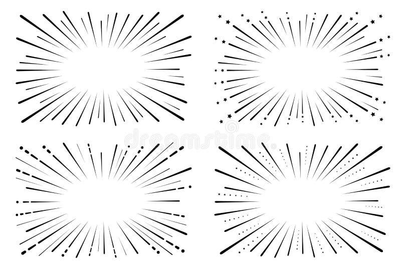Snelheids grappig boek Achtergrond van radiale lijnen isolatie Vector vector illustratie