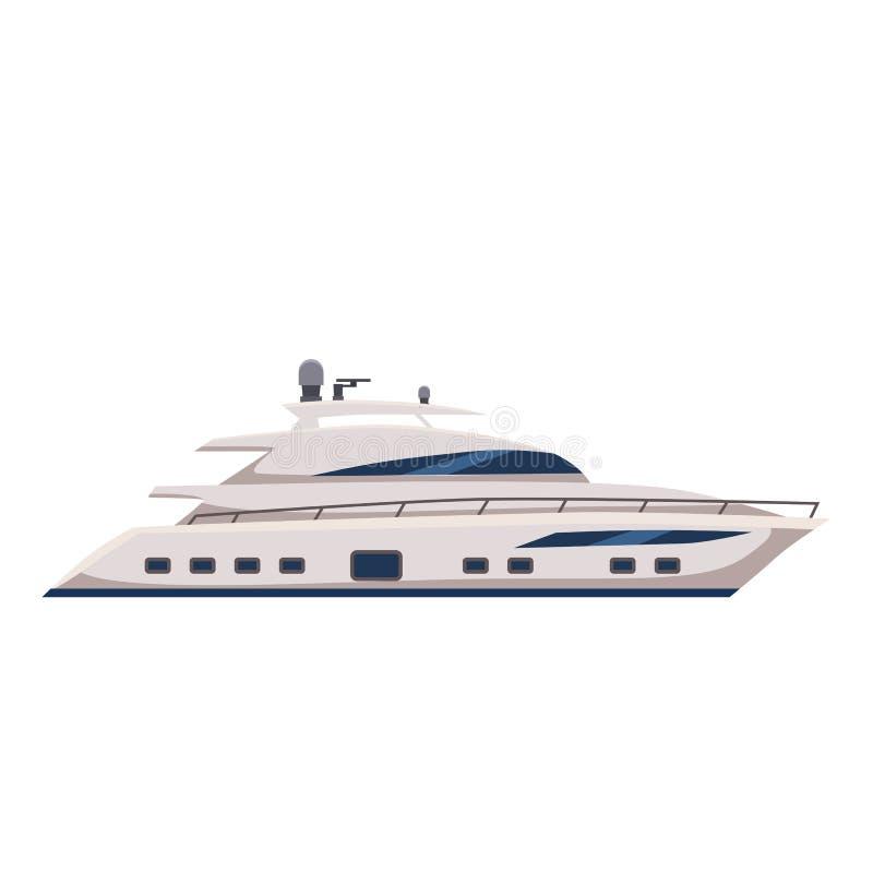 Snelheidsboot, jacht, beeldverhaalstijl, vector geïsoleerde illustratie, royalty-vrije stock afbeeldingen