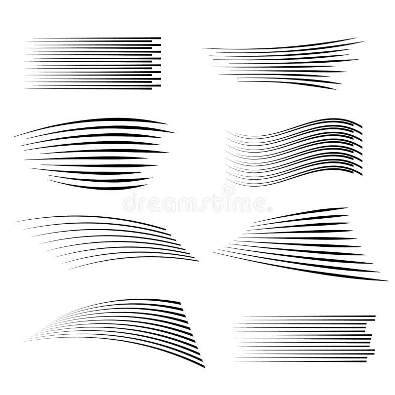 Snelheidslijnen geïsoleerde reeks stock illustratie