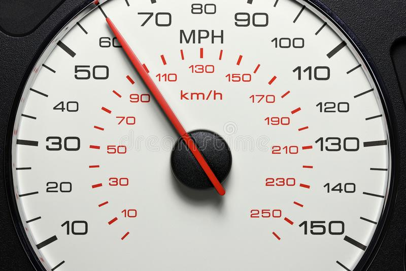 Snelheidsmeter bij 60 MPU royalty-vrije stock afbeelding
