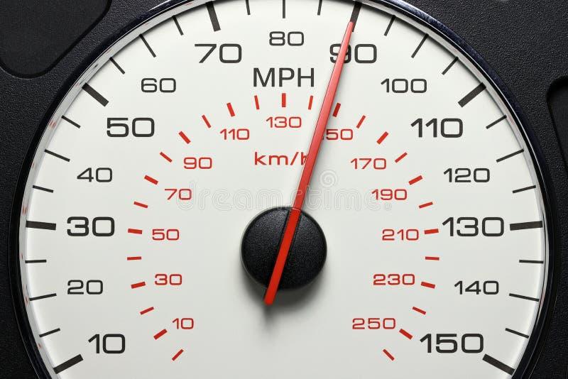 Snelheidsmeter bij 90 MPU royalty-vrije stock afbeelding