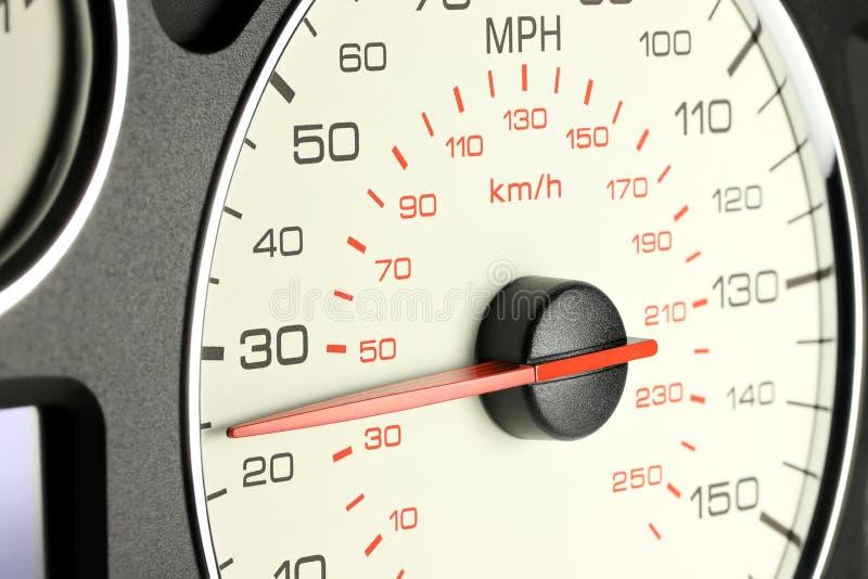 Snelheidsmeter bij 25 MPU stock afbeelding