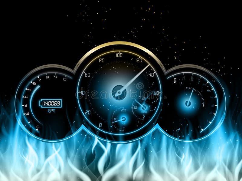 Snelheidsmeter in brand op zwarte achtergrond stock illustratie