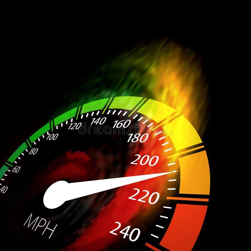 Snelheidsmeter met de weg van de snelheidsbrand vector illustratie