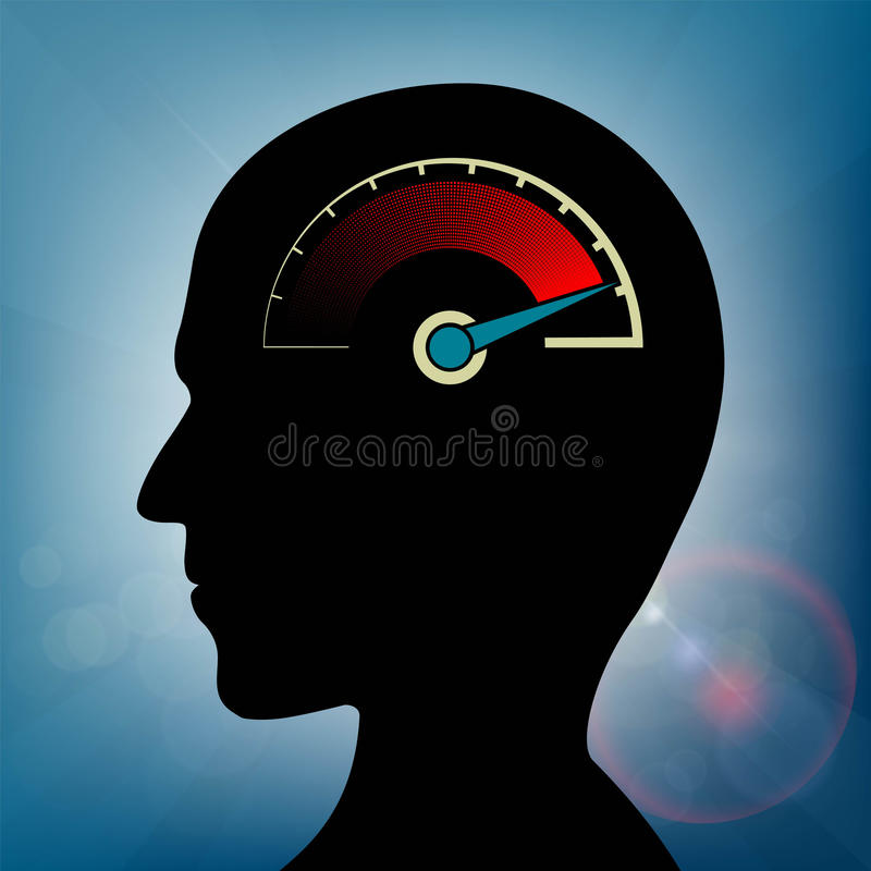 Snelheidsmeter met een pijl in menselijk hoofd Zenuwachtige spanning en fati vector illustratie
