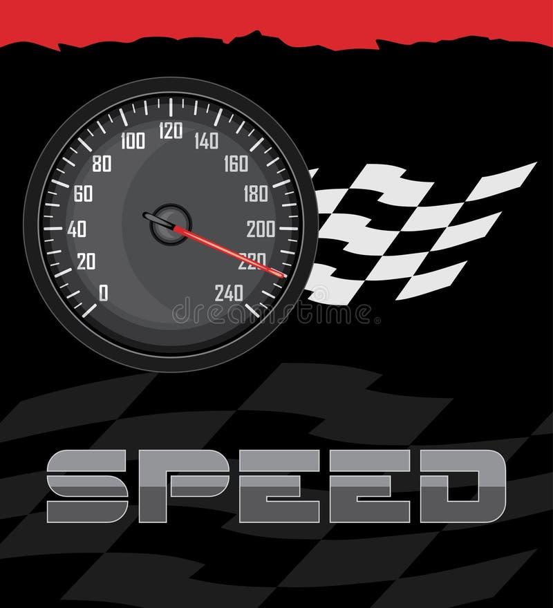 Snelheidsmeter op de abstracte achtergrond vector illustratie