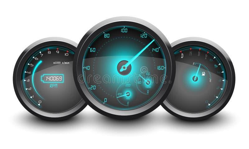 Snelheidsmeter, tachometer, brandstof en temperatuurmaat geïsoleerde witte achtergrond royalty-vrije illustratie