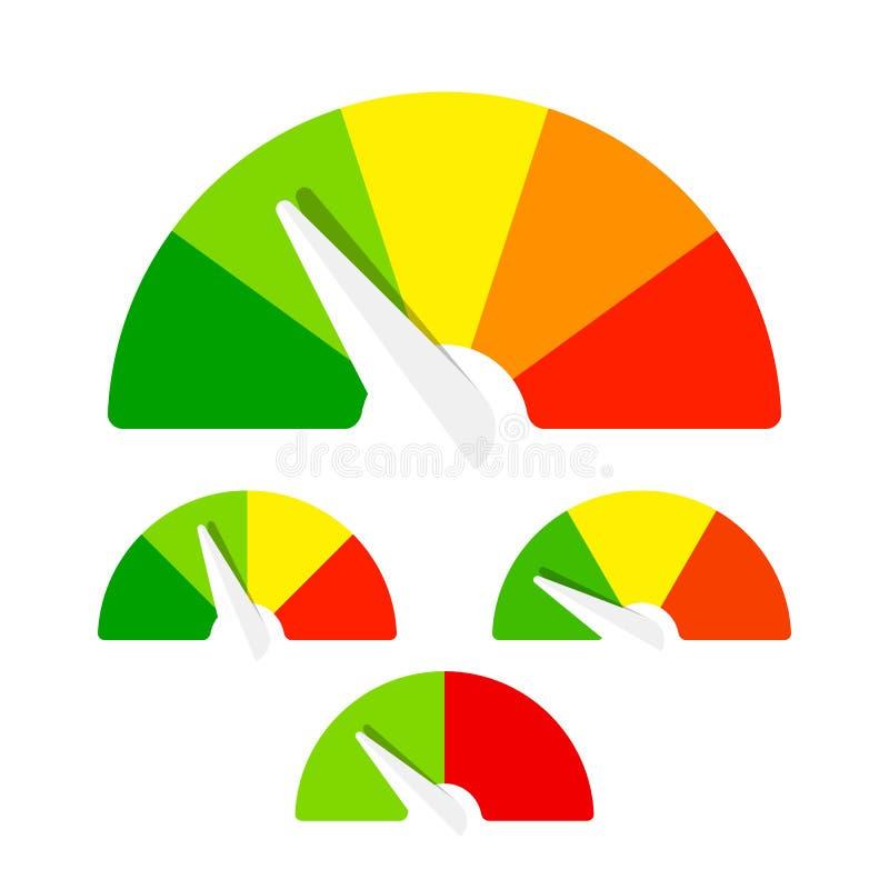 Snelheidsmeter of van de classificatiemeter tekens vector illustratie