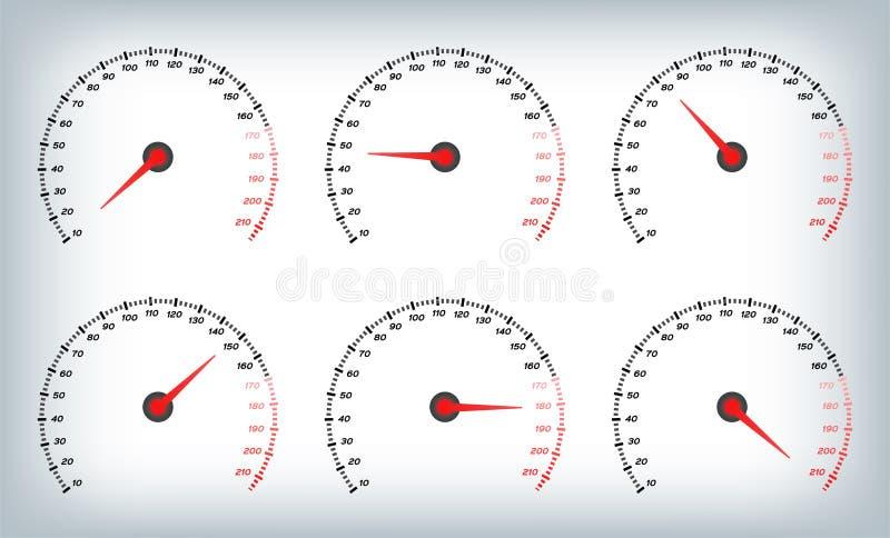 Snelheidsmeter voor auto Van de van de brandstofmaat en Tachometer/meter vector royalty-vrije illustratie
