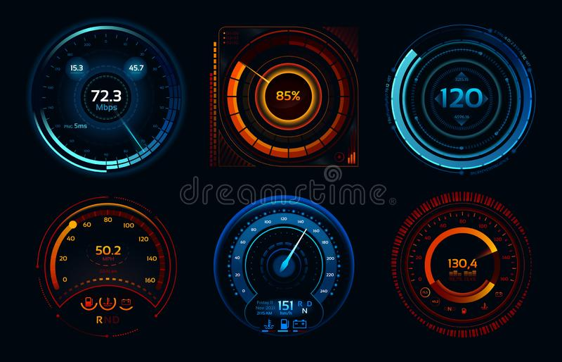 Snelheidsmeterindicatoren Machtsmeters, snel of het langzame Internet-van de meterstadia van de verbindingssnelheid vectorconcept stock illustratie