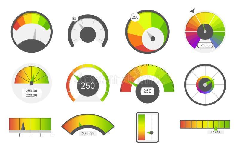 Snelheidsmeterpictogrammen De indicatoren van de kredietscore De meter van de de maatclassificatie van snelheidsmetergoederen Vla stock illustratie